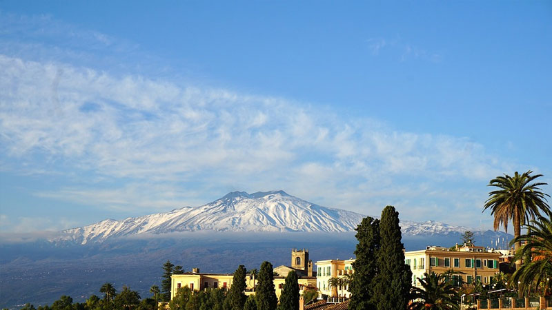 View of Mount Etna from Taormina