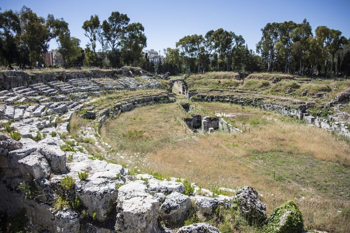 The ancient Roman Amphitheatre of Syracuse